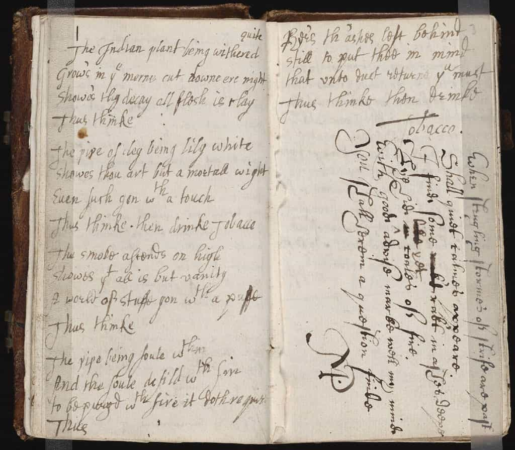 Photo of a commonplace book from the mid 17th century.