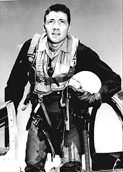 Picture of John Boyd in a flight suit during the Korean war.