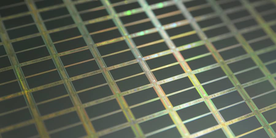 Close up of a silicon, microprocessor wafer.