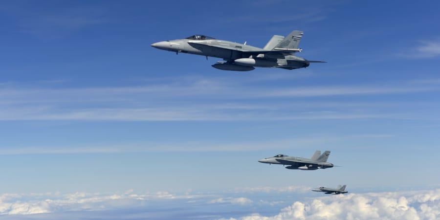 Three RAAF F/A-18 Hornets