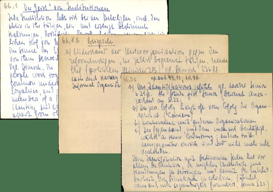 Examples notes from Niklas Luhmann's Zettelkasten method.